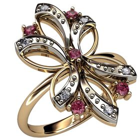 кольцо в виде цветка в красном и белом золоте