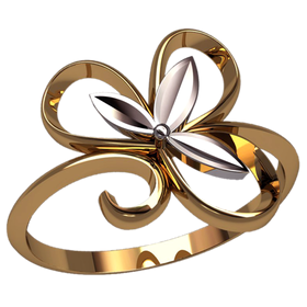женское кольцо в виде цветка без камней