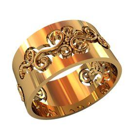 женское широкое кольцо с узорами без камней