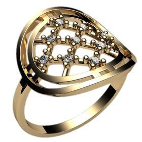 кольцо в сеточку с камнями