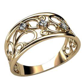 Женское дизайн кольцо с узорами и тремя камнями