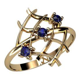 женское кольцо сеточка с тремя камнями