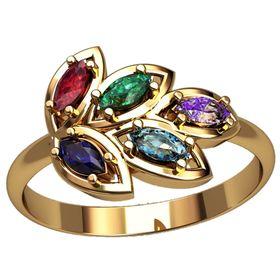 Женское кольцо в виде лепестков, с камнями