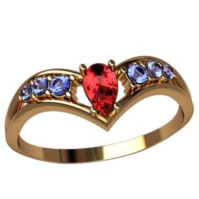 Женское кольцо с изгибами и камнем груша