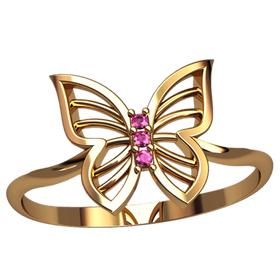 кольцо женское в виде бабочки