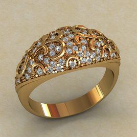 широкое кольцо с маленькими камнями
