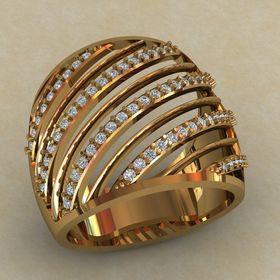 Женское широкое кольцо с камнями по диагонали