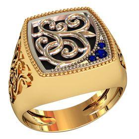 золотой перстень с ониксом