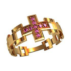 охранное кольцо с камнями в виде креста