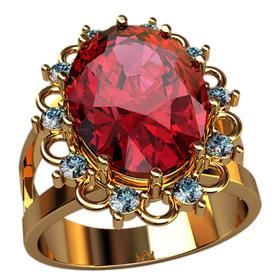 кольцо с большим овальным камнем