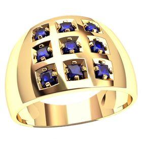 мужское кольцо с девятью камнями