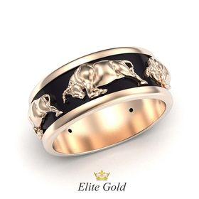 мужское кольцо с черной эмалью и быками