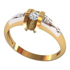 кольцо с тремя камнями по центру и боковыми
