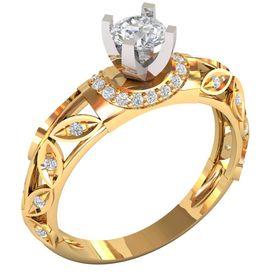 Женское дизайнерское кольцо с центральным камнем
