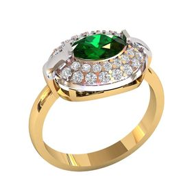 женское кольцо массивное с овальным камнем