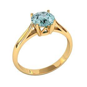 женское кольцо с центральным камнем 7мм