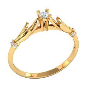 кольцо для помолвки в красном золоте с белыми камнями