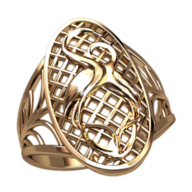 женское кольцо с аистами