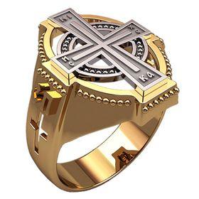 христианское кольцо с крестом без камней