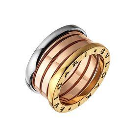 кольцо булгари 3 цвета золота без камней