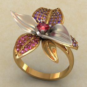 Кольцо женское широкое в виде цветочка с камнями
