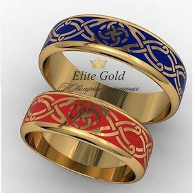 Кольца Свадебник с красной и синей эмалью