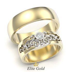 обручальные кольца с узорным женским кольцом