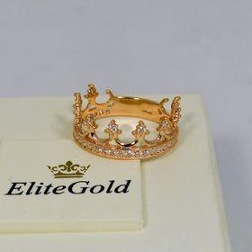кольцо корона с камнями в коронках и по ободку с белыми камнями