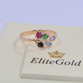 кольцо лепесток с камнями и в красном золоте
