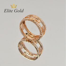 кольцо bvlgari parentesi с камнями в красном золоте EliteGold