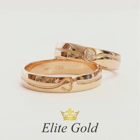 обручальные кольца с гравировкой сердце авторские в красном золоте