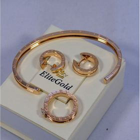 жесткий браслет в стиле Bvlgary Zero в красном золоте компдект с серьгами и кольцом