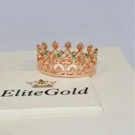 кольцо корона в красном золоте с изумрудами