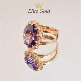 кольцо с большим овальным камнем с аметистом