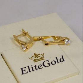 женские дизайнерские серьги аккуратные с камнями в лимонном золоте с бриллиантами