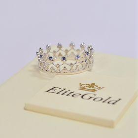 кольцо корона в белом золоте с сапфирами