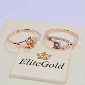 женское кольцо с камнями с цитрином в красном золоте и кольцо с аметистом