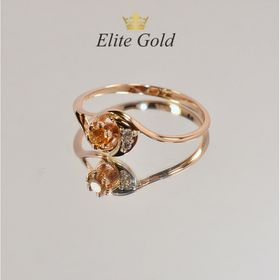женское кольцо с камнями с цитрином в красном золоте