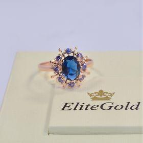 кольцо в видео солнца с синими камнями в красном золоте