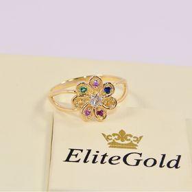 кольцо в видео ромашки с разноцветными камнями в лимонном золоте