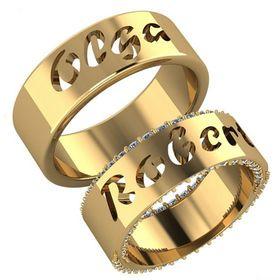 обручальные кольца с вырезанными именами