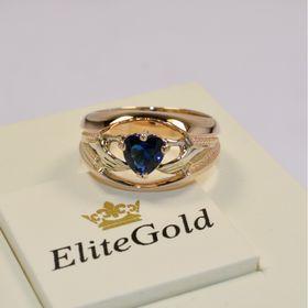 ирландское широкое кольцо с камнем с синим камнем