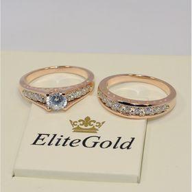двойное кольцо сет для невесты в красном золоте отдельно