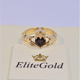 ирландское кольцо с гранатом в лимонном золоте