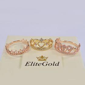 кольцо корона в лимонном золоте с белыми камнями в комплекте с другими коронами