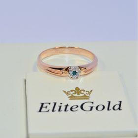 женское помолвочное кольцо в красном золоте с топазом и бриллиантами