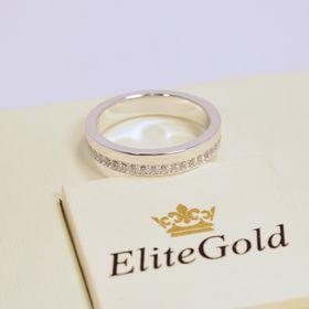 женское классическое кольцо с камнями по всему ободку в белом золоте с белыми камнями