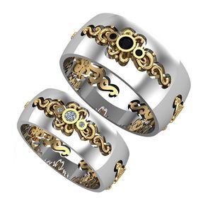 обручальные авторские кольца с камнями с узорами