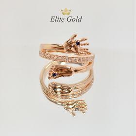 кольцо на рождение ребенка в красном золоте с белыми камнями