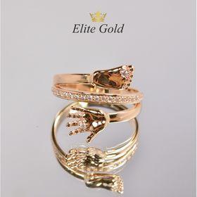 кольцо на рождение ребенка в красном золоте с белыми фианитами